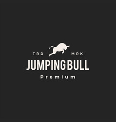 jumping bull hipster vintage logo icon vector image
