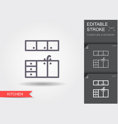 kitchen furniture line icon with editable stroke vector image