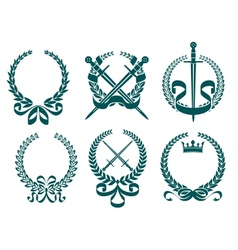 Laurel wreathes with heraldry elements vector