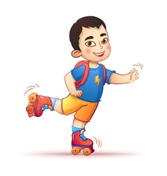 Little asian boy riding on roller skates Happy vector image