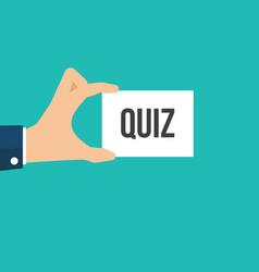 man showing paper quiz text vector image