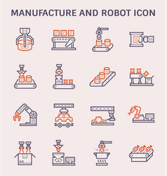 Manufacture robot icon vector