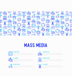 Mass media concept with thin line icons vector