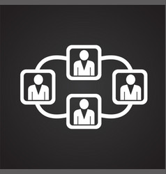 Network of connected people on black background vector