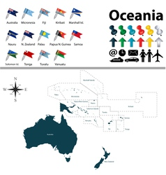 Oceania political map with flags small vector image