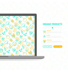organic products concept with thin line icons vector image
