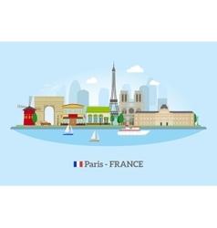 Paris skyline in flat style vector