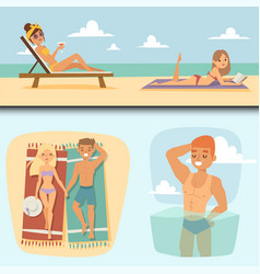people on beach outdoors summer lifestyle vector image