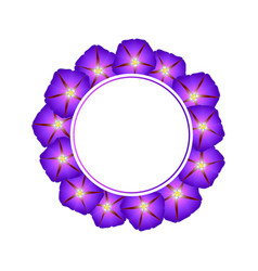 Purple morning glory flower banner wreath vector