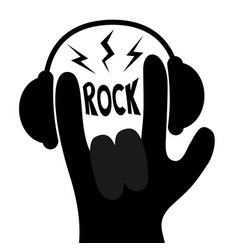 Rock music headphones lightning rock and roll vector