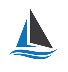 sailing ship and yacht logo design vector image