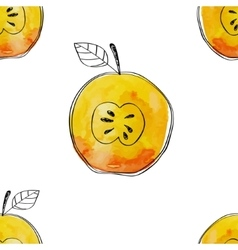 Seamless pattern of watercolor yellow apple vector image
