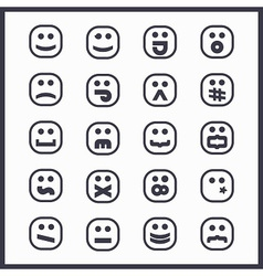 Set black line cartoon emoji face icons vector