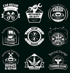 set car service badges labels logo vector image