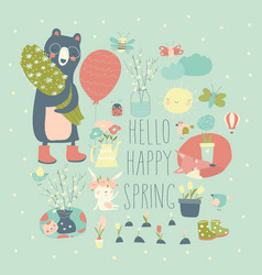 Set cartoon animals and spring elements vector