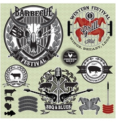 Set design elements on a barbecue grill vector