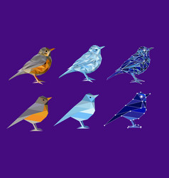 set of birds in polygon style vector image