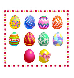 Set of colored easter eggs isolated vector