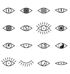 Set of Various Eye Icons on White Background vector image