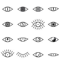 set various eye icons on white background vector image