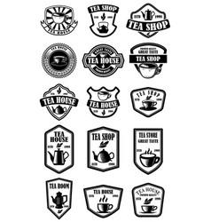 set vintage tea house labels design element vector image