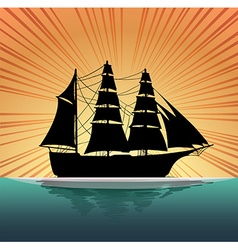 Silhouette sailboat on the sea vector