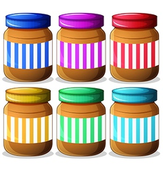 Six jars of peanut butters vector