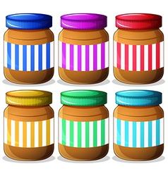 Six jars peanut butters vector