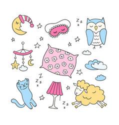 Sleep set in doodle style good night symbols vector