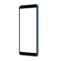 smartphone blue mock up with blank screen side vector image