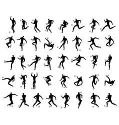 soccer or football players set silhouette vector image