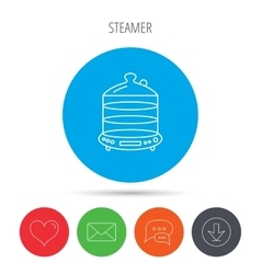 Steamer icon Kitchen electric tool sign vector image