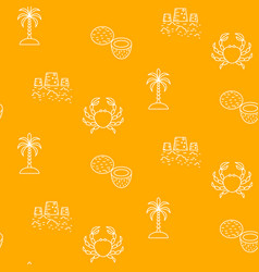 summer vacation line icon yellow seamless vector image