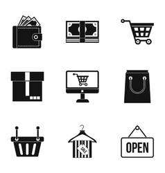 Supermarket buying icons set simple style vector