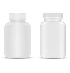 supplement bottle plastic capsule jar for vitamin vector image