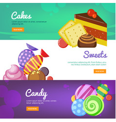 sweets banners candies lollipop jelly and cakes vector image