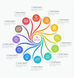 Swirl style infographic template with 12 options vector