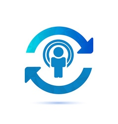 Synchronize user icon update icon with man in the vector image
