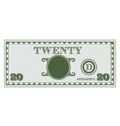 Twenty money bill image vector image