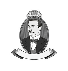 Victorian Gentleman in Circle vector