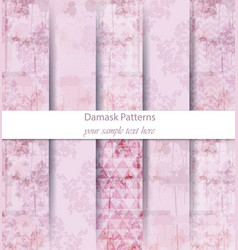 vintage damask patterns set collection vector image