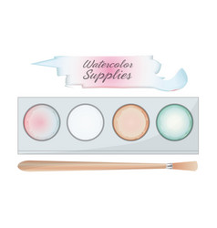 watercolor palette and brush design vector image