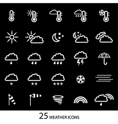 White weather icons with black background Set of vector image