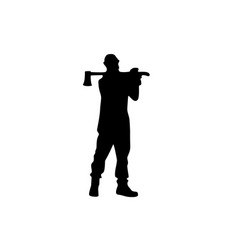 woodcutter male silhouette on white vector image