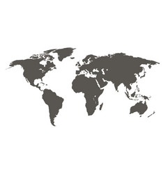 world map grey colored on a white background vector image