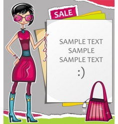 young woman with message board vector image