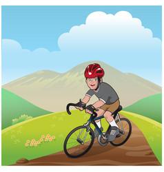 boy riding a mountain bike vector image