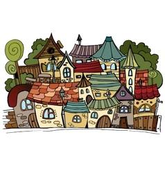 Cartoon fairy tale drawing town vector