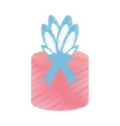 drawing gift box wrapped paper bow vector image vector image