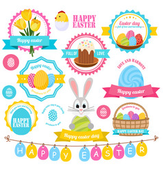 easter colorful labels set vector image vector image